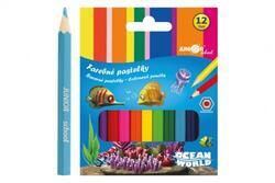 Pastelky barevné dřevo krátké Ocean šestihranné 12ks