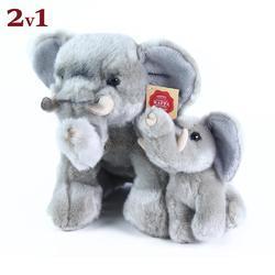 Slon 27cm s mládětem 13cm, plyš