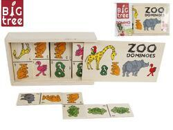 Domino dřevěné zvířátka 15,5x9x4cm 28ks v dřevěné krabičce ve fólii(8ks/bal)