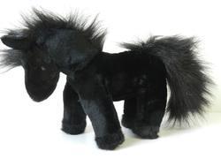 Kůň stojící černý plyš 26cm