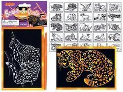 Škrabací kresby 1632 zlatý podklad 15x10cm