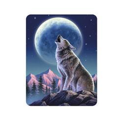 Magnet 3D 7x9cm - vlk vyjící na měsíc (25)