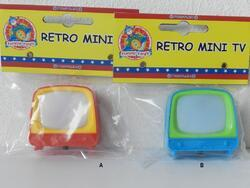 Mini retro TV 5cm s obrázky zvířat, 2dr(12ks/bal)
