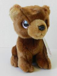 Medvěd hnědý sedící, velké oči, plyš 20cm