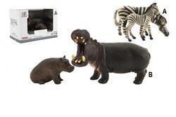 Zvířátka hroch+zebra 11cm sada plast 2ks 2druhy