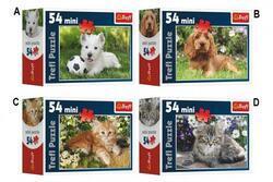 Minipuzzle Zvířátka 54dílků 4druhy v krabičce 9x6, 5x3,5cm (40ks/bal)