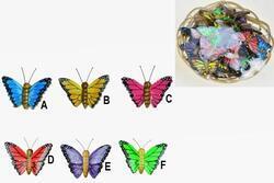 Motýl dřevo 4cm, 6dr (36)