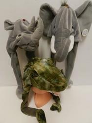 Čepice plyš 55cm - nosorožec, slon, krokodýl(3ks/bal)