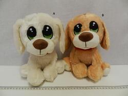Pes plyš 25cm  sedící s vyšívanýma očima, 2dr