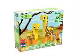 BiOBUDDi stavebnice Wildlife Steppe 2v1 žirafa/jelen 14ks