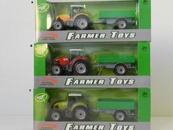 Traktor s vlečkou kovový 18cm, 3druhy