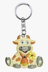 Přívěšek dřevo - kráva se zvonečkem (6)