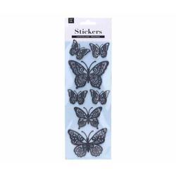 Nálepky 10,8x30,5cm motýl glitter