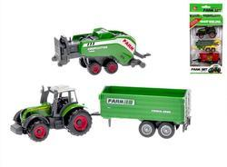 Traktor kov 8cm+2 vlečky, volný chod, 2dr