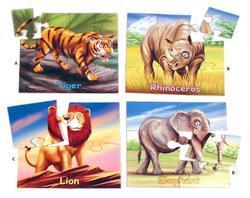 Puzzle safari 4 obrázky (4-12dílků)