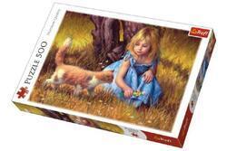 Puzzle Holčička s kočkou malované 500dílků 48x34cm