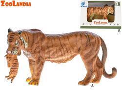 Zoolandia tygr/tygřice s mládětem 15cm v krabičce
