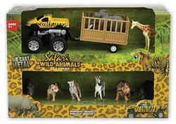 Auto s přívěsem a 8ks zvířat, v krabičce