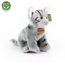 Kočka šedá sedící plyš 24cm