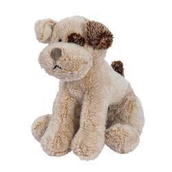 Pes sedící s hnědým uchem plyš 14cm