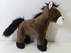 Kůň hnědý sedící, plyš 27cm