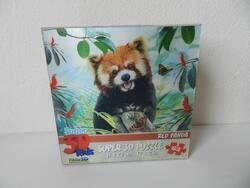 Puzzle 3D panda červená 63 dílků 23x31cm