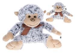 Opice plyšová 20cm sedící s mašlí 2barvy 0m+(4ks/bal)