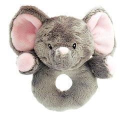 Chrastítko slon růžový plyš 12cm