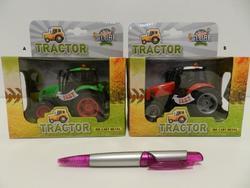 Traktor kov 12cm na setrv, na BO se světlem, 3barv(12ks/bal)