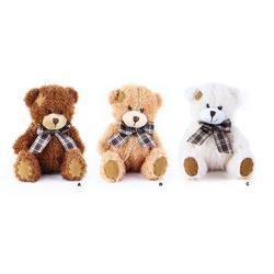 Medvěd s mašlí a záplatou plyš 15cm