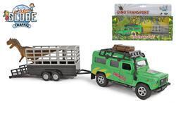 Land Rover kov na zpětný chod 28cm s přévěsem a dinosaurem v krabičce