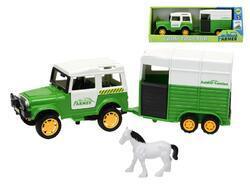 Auto terénní 14cm volný chod s přívšsem a koněm v krabičce(30ks/bal)