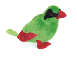 Ptáci plyš 20cm - Javan Green Magpie (6druhů)