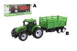 Traktor s vlekem plast 21cm volný chod 2barvy