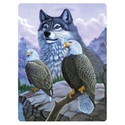 Pohlednice 3D 16cm - vlk s orli