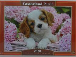 Puzzle 500 dílků - Štěňátko v růžových květinách