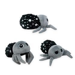 Pavouk černý se stříbrnými hvězdičkami plyš 14cm, velké oči