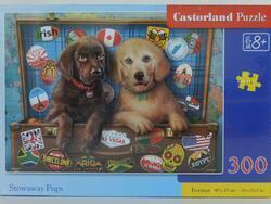 Puzzle 300dílků - Šťěňata Labradorů v kufru