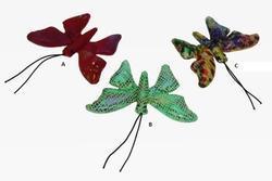 Motýl textil s pískem 10cm, 3druhy