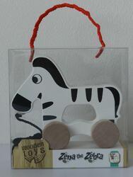 Zebra na kolečkách a s provázkem dřevěná 15x16x6cm 12m+