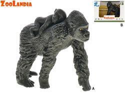 Zoolandia gorila samec/samice s mládětem 8,5-10,5cm v krabičce