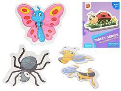 Puzzle dětské 18x13cm Hmyz 15dílků 6obrázků v krabičce