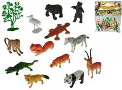 Zvířátka safari 4-8cm 12dr+stromek 13ks v sáčku