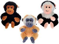 Opice sedící plyš 16cm, 3dr (6ks/bal)